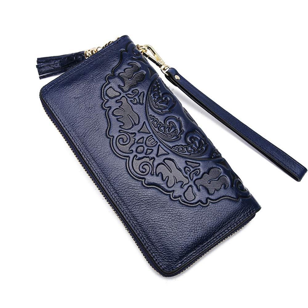 bluee Women's Wallet Vintage Leather Casual Ladies Long Wallet MultiCard Ladies Handheld Wallet Splicing Large Capacity Wallet (color   Black)