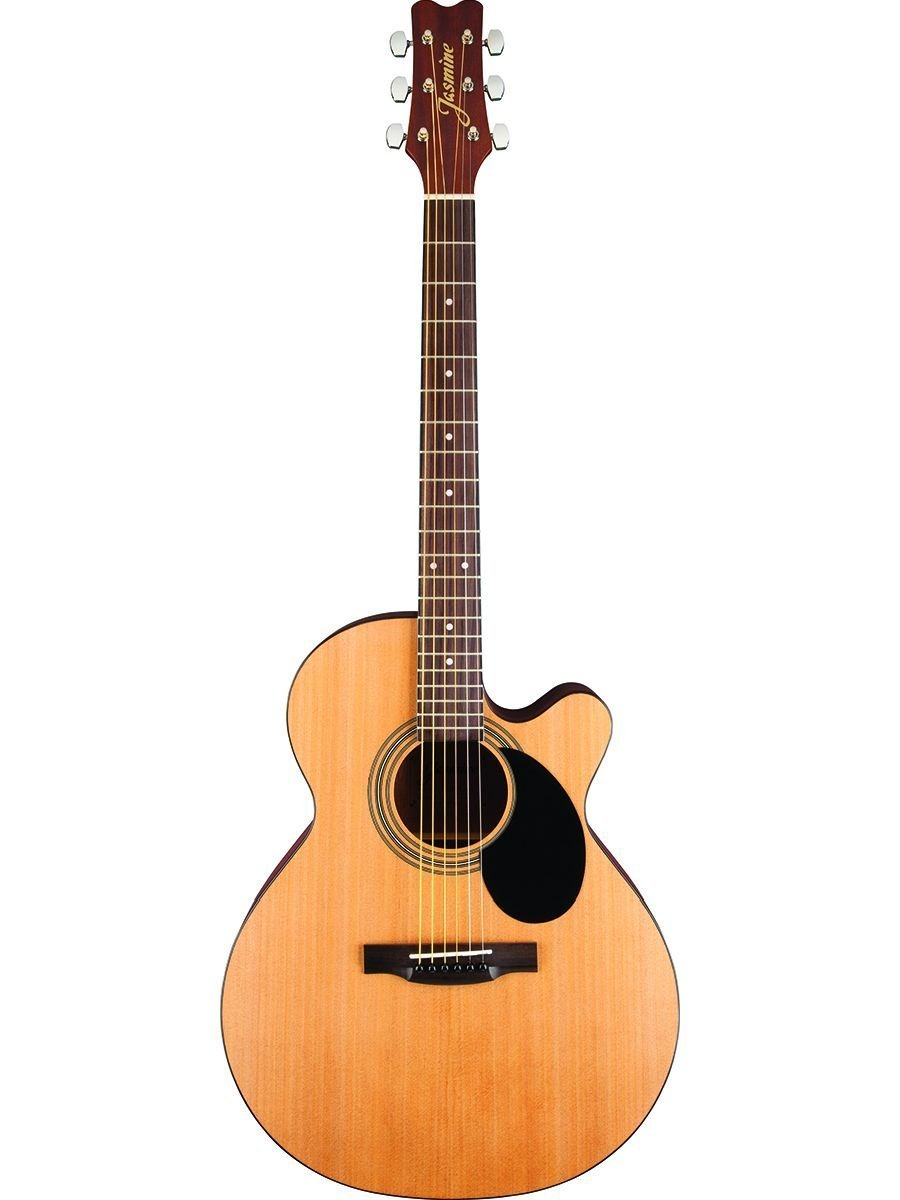 Jasmine S-34C Grand Orchestra Cutaway 6-String Acoustic Guitar Bundle with Gig Bag, Tuner, Strap, Strings, Picks, and Polishing Cloth