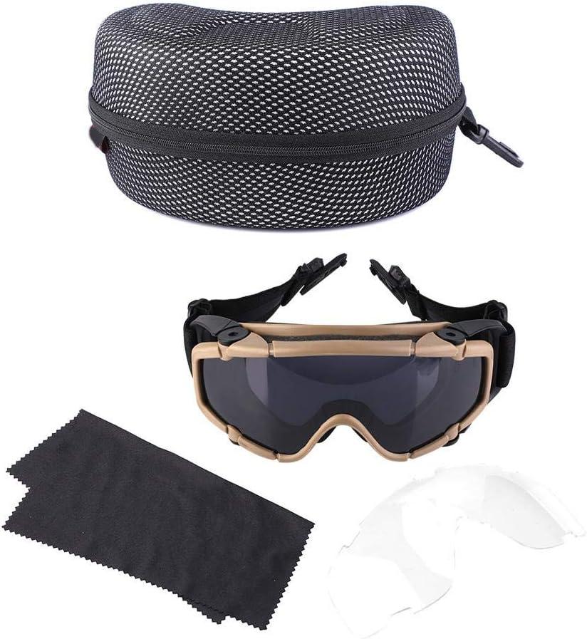 SolUptanisu Gafas Casco,Gafas Tácticas Unisex FMA Gafas Antivaho Airsoft A Prueba de Viento a Prueba de Polvo Gafas Balísticas Militar Paintball Protección de Ojos para Moto Ciclismo Bicicleta(Caqui)