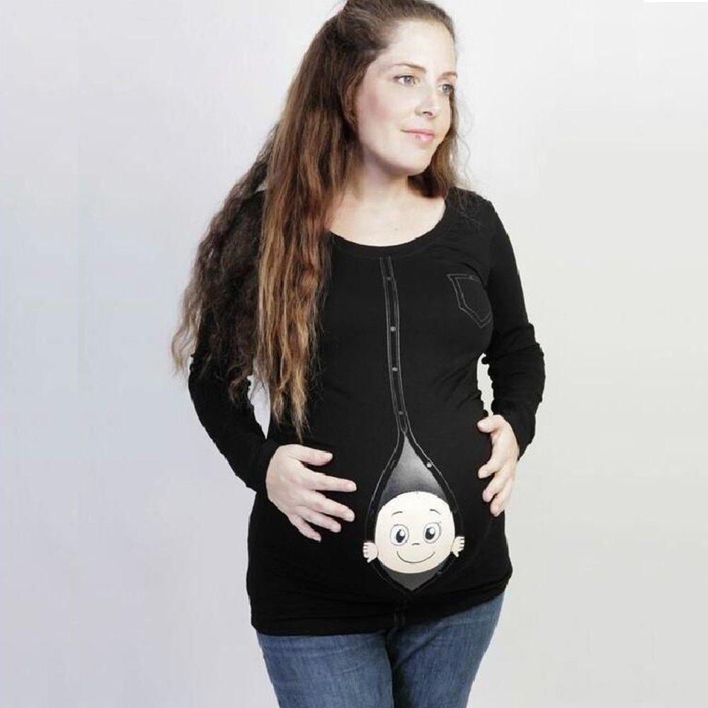 Femme KINDOYO T-Shirt Vilain B/éb/é Curieux De Grossesse Motif Humour Imprim/é