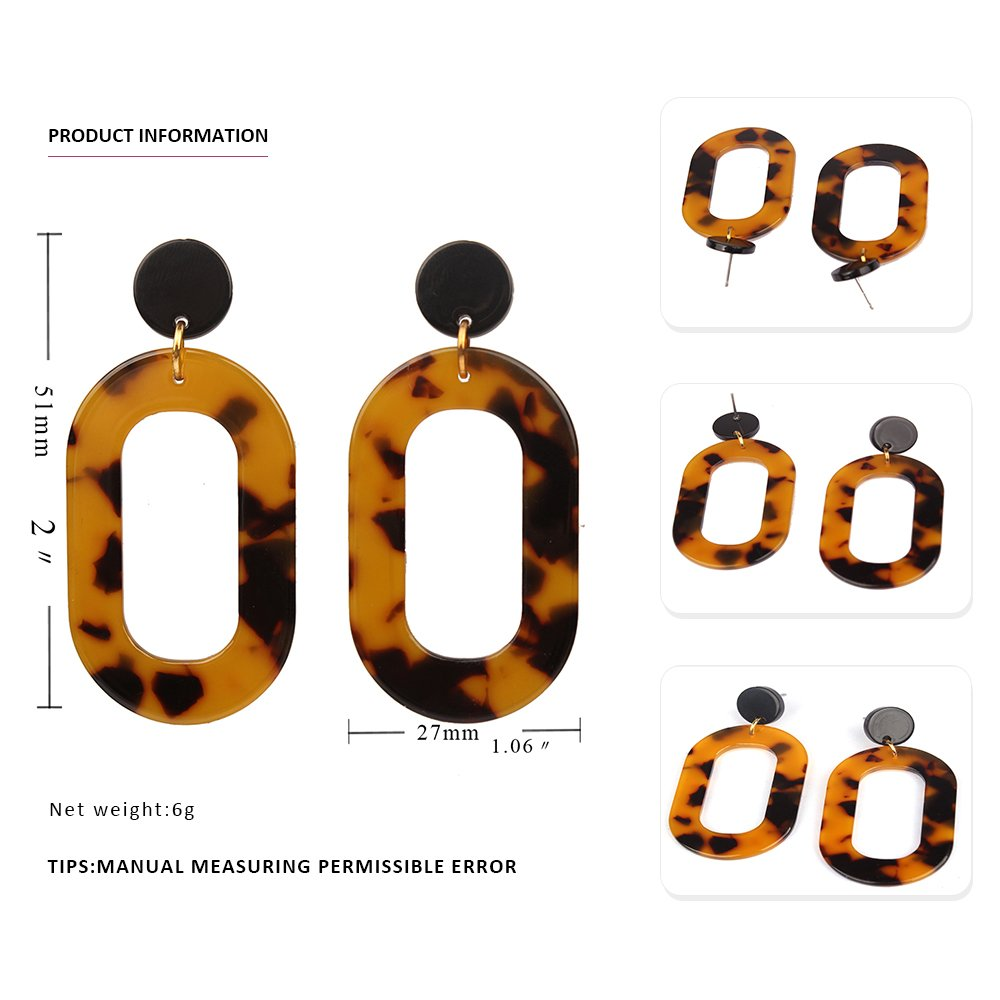 MIZUKAGAMI Tortoise LYKC Earrings 2'' x 1.06'' for Women Acrylic Acetate Edition Extrordinary Pattern by mizukagami (Image #2)