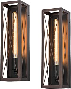 Pauwer Industrial Wall Sconces Set of 2 Edison Vintage Wall Lamp Rustic Oil Rubbed Bronze Wall Light Fixture Antique Wall Lighting for Bedroom Living Room Hallway