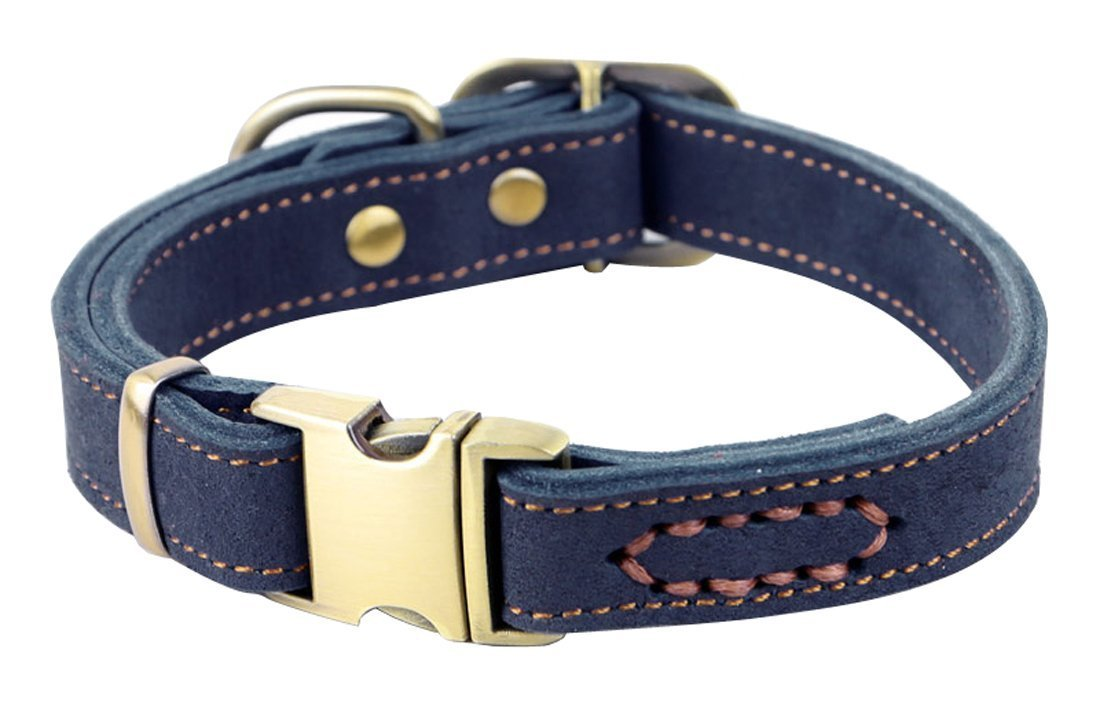 bluee Rantow Handmade Adjustable Pet Dogs Collar 11.9  to 16.5  and 0.78  Wide, Genuine Leather Dog Training Collar For Small Medium Dogs (bluee)