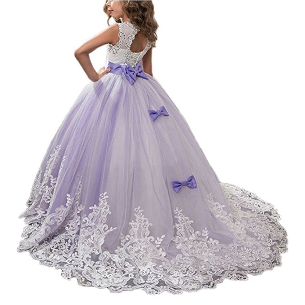 Long Girls Pageant Princess Dresses Kids Prom Puffy Tulle Ball Gown