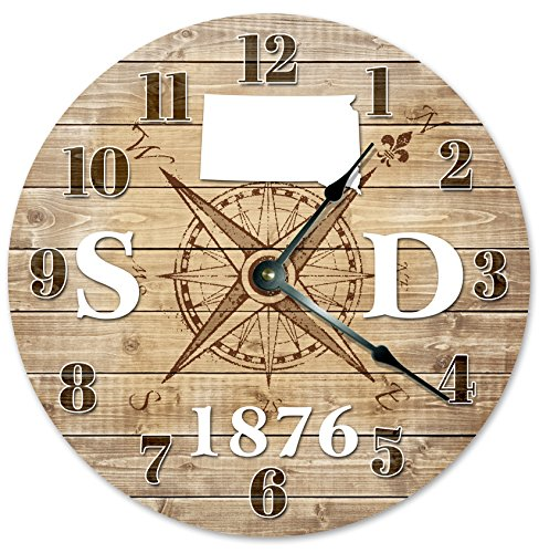 SOUTH DAKOTA CLOCK Established in 1876 Decorative Round Wall Clock Home Decor Large 10.5