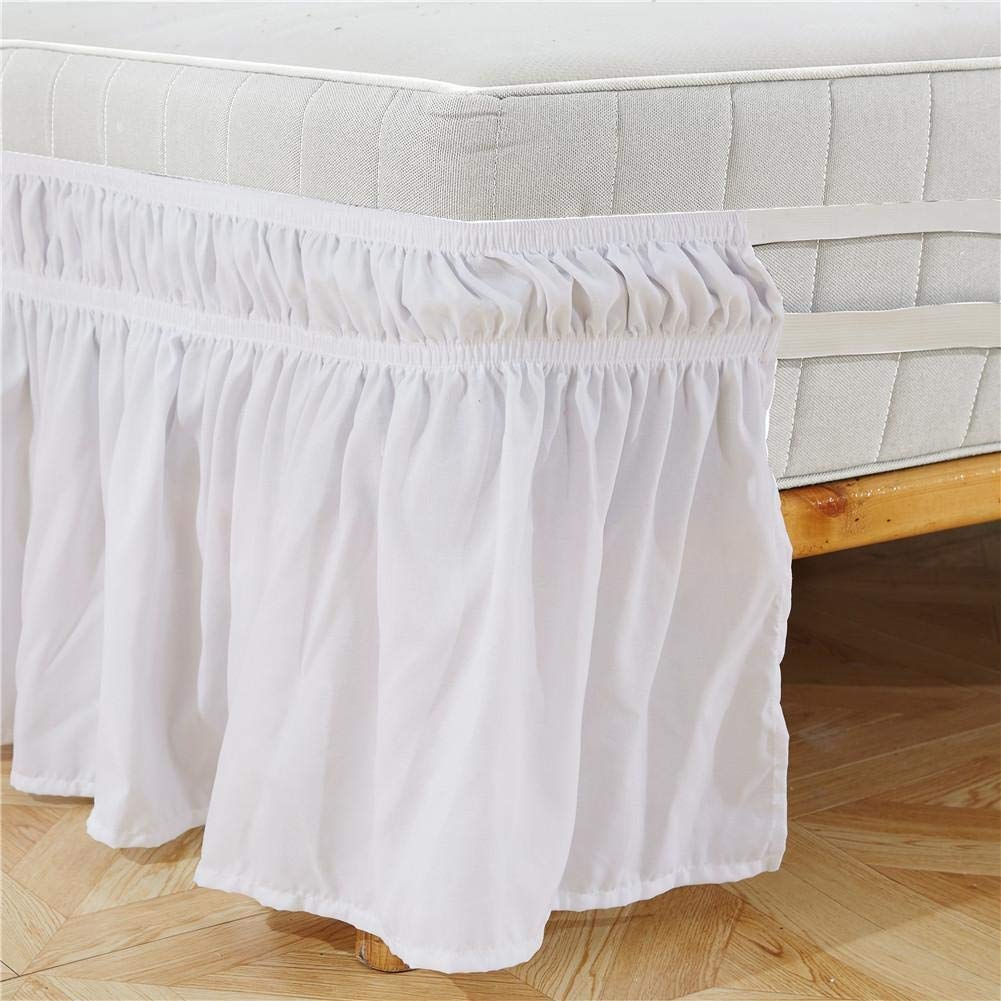 Bed Skirt,Solid Color Elastic Belt Bed Skirt Solid Color Around Bed Skirt Elastic Bed Ruffles Easy Fit Wrinkle Resistant Bed Skirts US-Twin 3975+15inch, US-Queen 6080+15inch