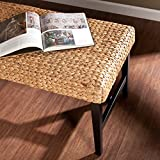 Water Hyacinth Woven Bench - Wood Frame Base