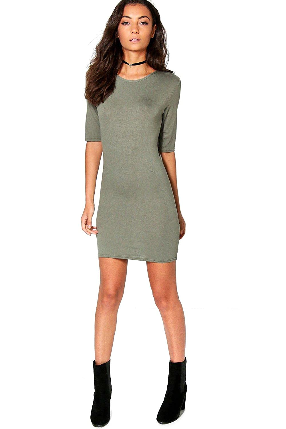 Khaki Womens Tall Raya Strappy Back T-Shirt Dress