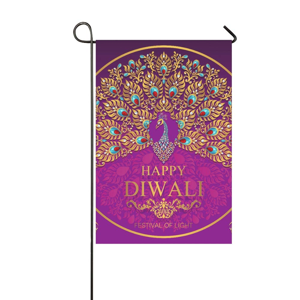 Home Decorative Outdoor Double Sided Happy Diwali Festival Card With Gold Peacock Patte Garden Flag,house Yard Flag,garden Yard Decorations,seasonal Welcome Outdoor Flag 12 X 18 Inch Spring Summer Gift