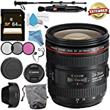 Canon EF 24-70mm f/4L IS USM Lens 6313B002 + 77mm 3 Piece Filter Kit + 64GB SDXC Card + Lens Pen Cleaner + Fibercloth + Lens Capkeeper + Deluxe 70 Monopod + Deluxe Cleaning Kit Bundle