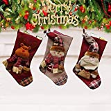"""Christmas Stockings Set of 3 PCS, 18"""" Xmas Stockings Large Size with Cute 3D Santa, Snowman, Reindeer for Hanging Christmas Decorations"""