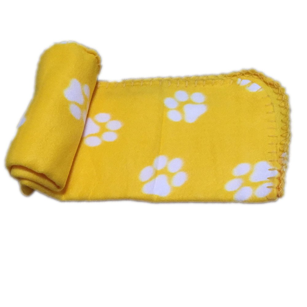 HUN Huangou Pet Products Warm Mat - mall Large Paw Print Cat Dog Puppy Fleece Soft Blanket (Yellow, 7060cm/27.55'' 23.62'')