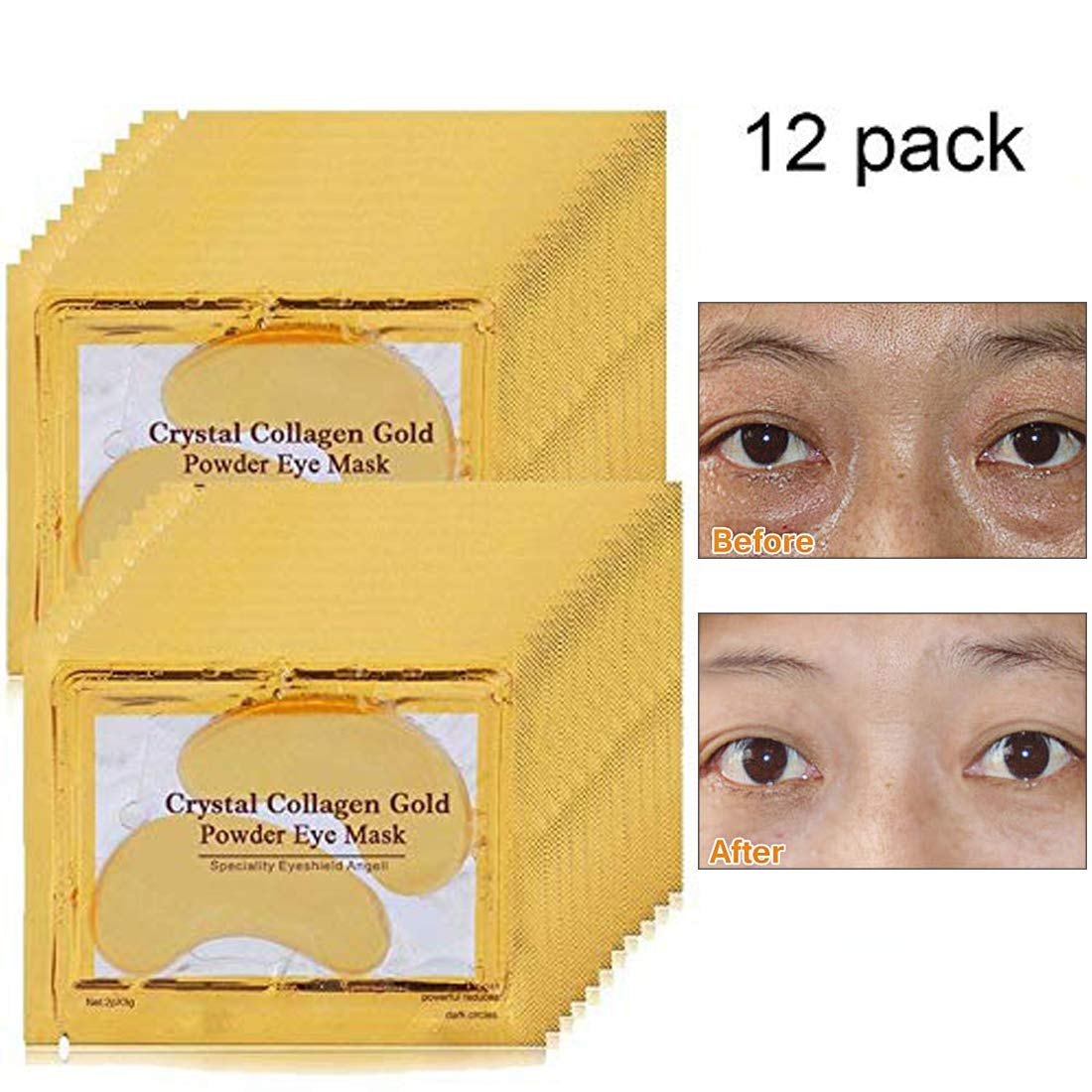 5430dd49845 Gold Eye Treatment Mask Power Crystal Gel Collagen Eye Pads(12 Pairs) for  Women and Men to Anti Aging