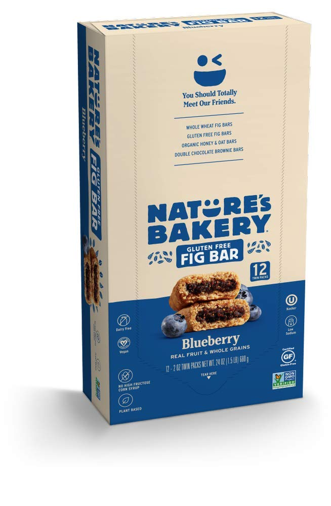 Nature's Bakery Gluten Free FigBars, Blueberry (12 Bars), Packaging May Vary, Non GMO, Vegan Snacks