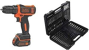 BLACK+DECKER 12V MAX Cordless Drill/Driver (BDCDD12C) with BLACK+DECKER BDA91109 Combination Accessory Set, 109-Piece
