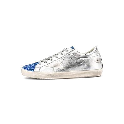 Scarpe sneakers superstar in pelle laminata e glitter con