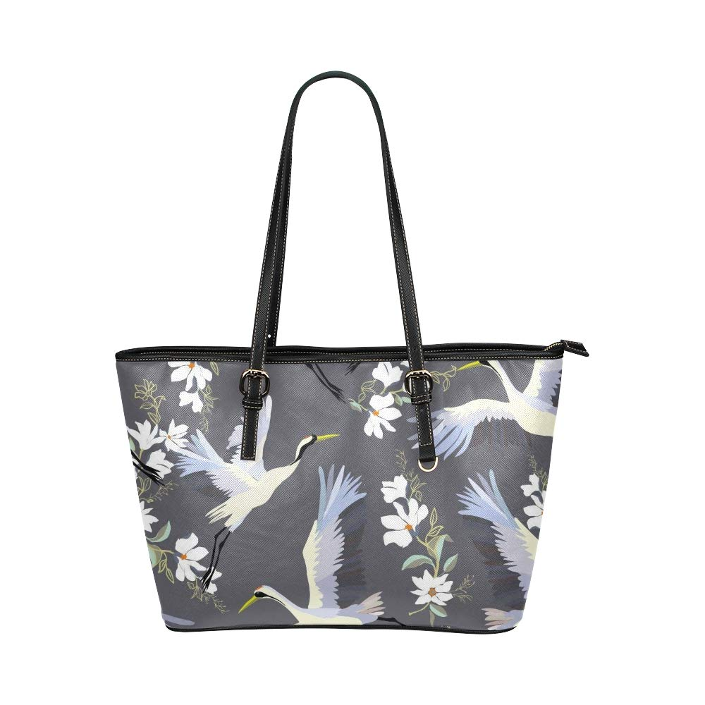 Japanese Crane Flying Birds With Flower Large Soft Leather Portable Top Handle Hand Totes Bags Causal Handbags With Zipper Shoulder Shopping Purse Luggage Organizer For Lady Girls Womens Work