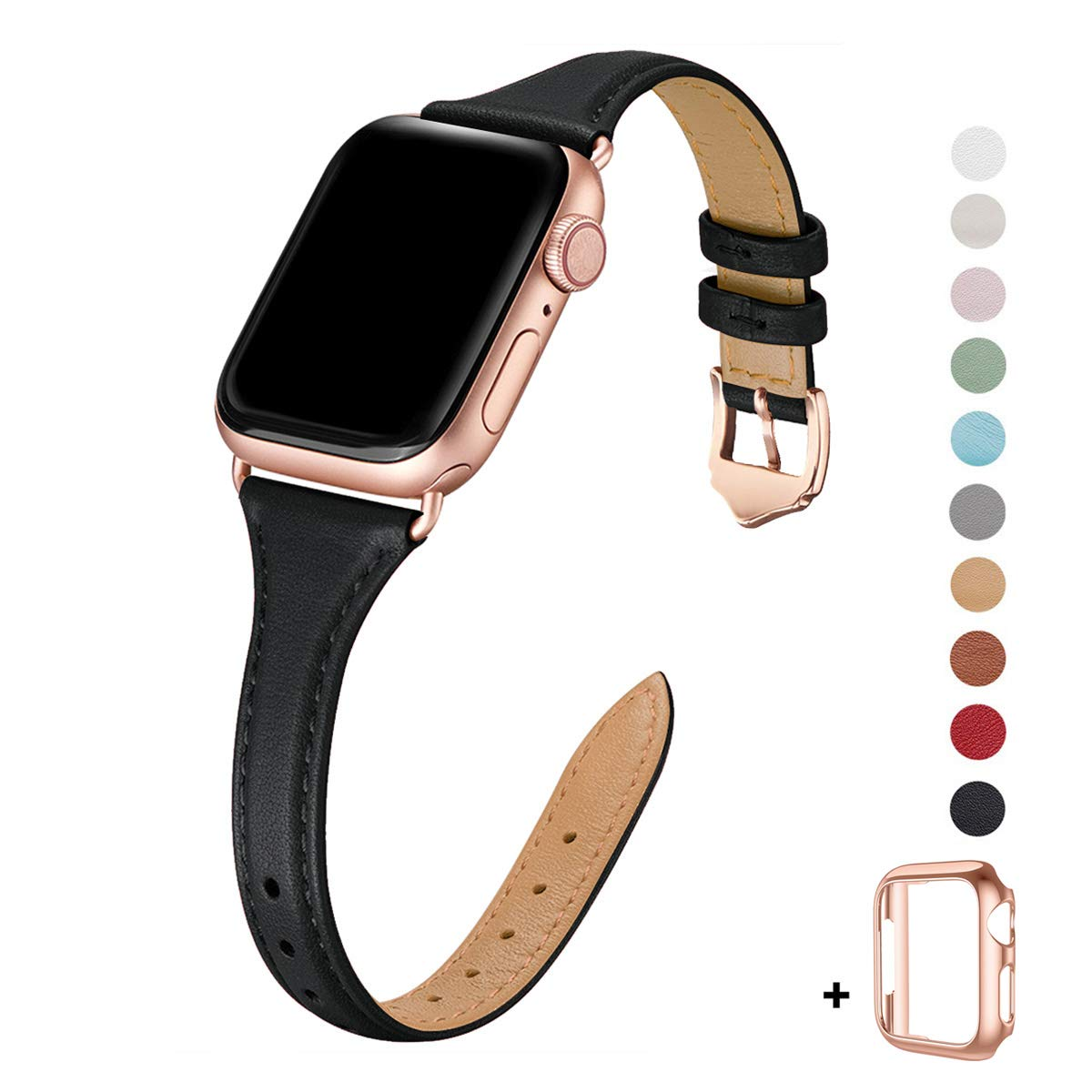 WFEAGL Leather Bands Compatible with Apple Watch 38mm 40mm 42mm 44mm, Top Grain Leather Band Slim & Thin Wristband for iWatch Series 5 & Series 4/3/2/1 (Black Band+Rose Gold Adapter, 38mm 40mm) by WFEAGL