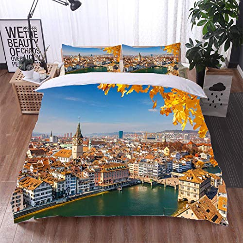 VROSELV-HOME King Duvet Cover Set,Zurich,Soft,Breathable,Hypoallergenic,Bedding Set Cover with 2 Pillow Shams Decorative Quilt Cover - Zurich Pillow Bed
