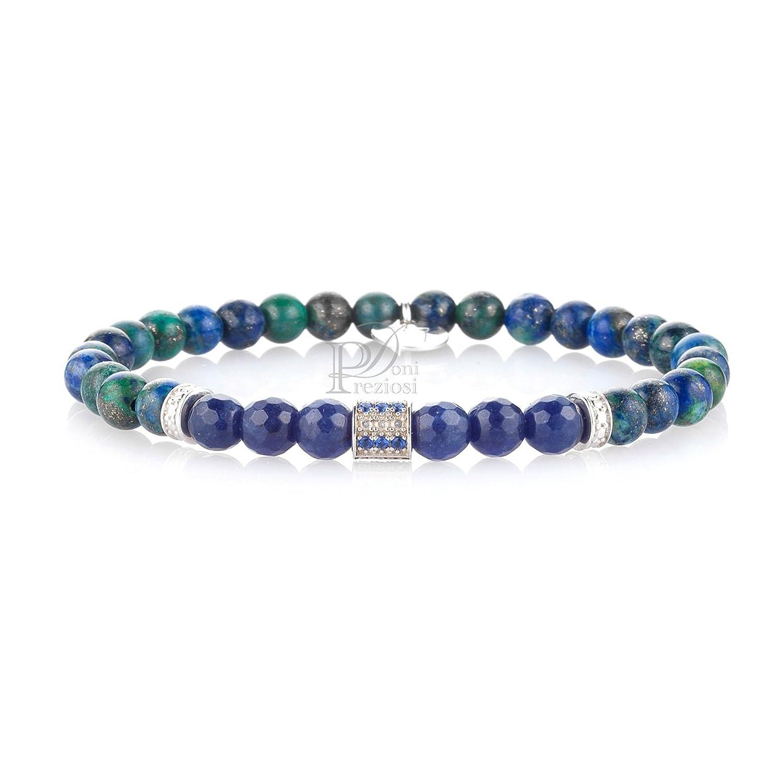 146314d94c45 Pulsera de hombre con piedras azul y verdes y elementos de plata con  circonitas azul GERBA