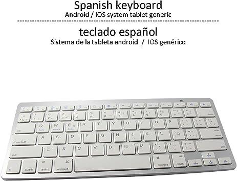 ÁpexTech BK3001BA Bluetooth Teclado inalámbrico, Teclado de España Universales,Ultra Delgado Mini Teclado para iOS iPhone, iPad, Android (Distribución del teclado en Español): Amazon.es: Electrónica