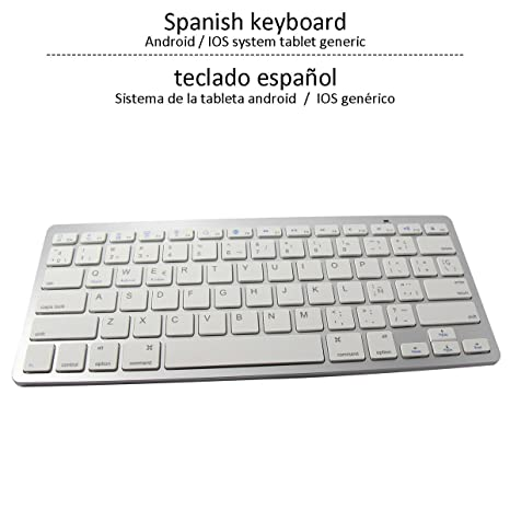 ÁpexTech BK3001BA Bluetooth Teclado inalámbrico, Teclado de España Universales,Ultra Delgado Mini Teclado para