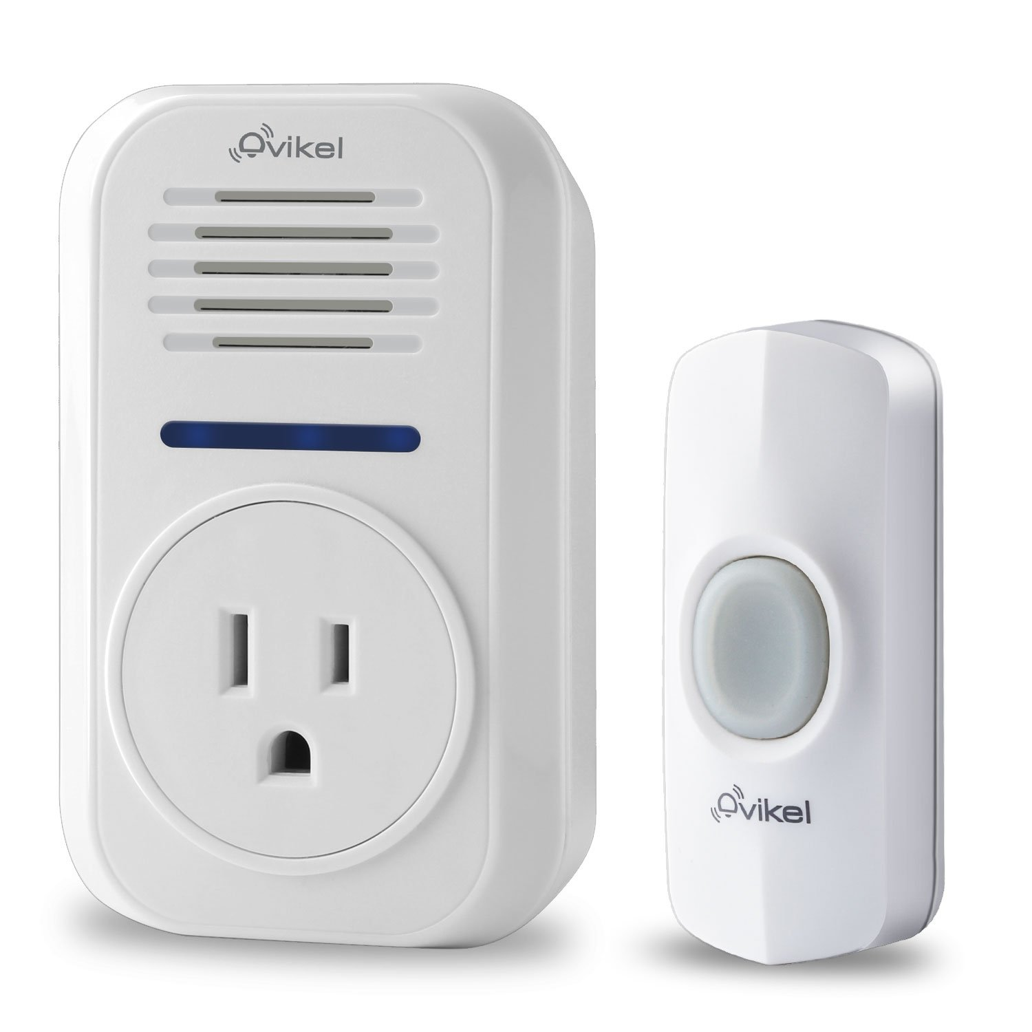 Wireless Plug-in Vikel Doorbell Chime With Outlet, 500 Feet Operating Range, 4 Levels Volume, 32 Melodies to Choose, IP44 Bell Push, Battery push button and AC Receiver, White, Wireless Doorbell with