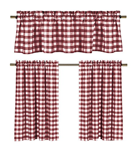 (3 Piece Cotton Rich Small Kitchen Window Set: Gingham Check Design, One Valance, Two Tiers 24 IN Long (Burgundy and White))