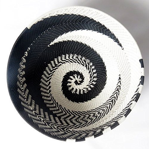 African Zulu woven telephone wire bowl – Small round - Black and white - Gift from Africa
