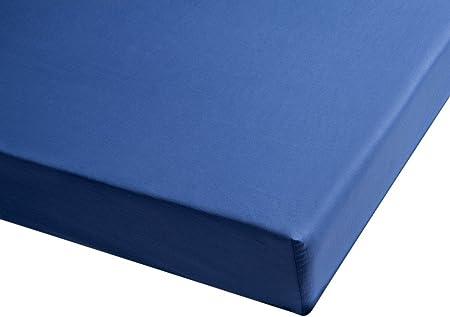 100/% Algod/ón percal Color azul marino S/ábana bajera Sancarlos Cama de 135