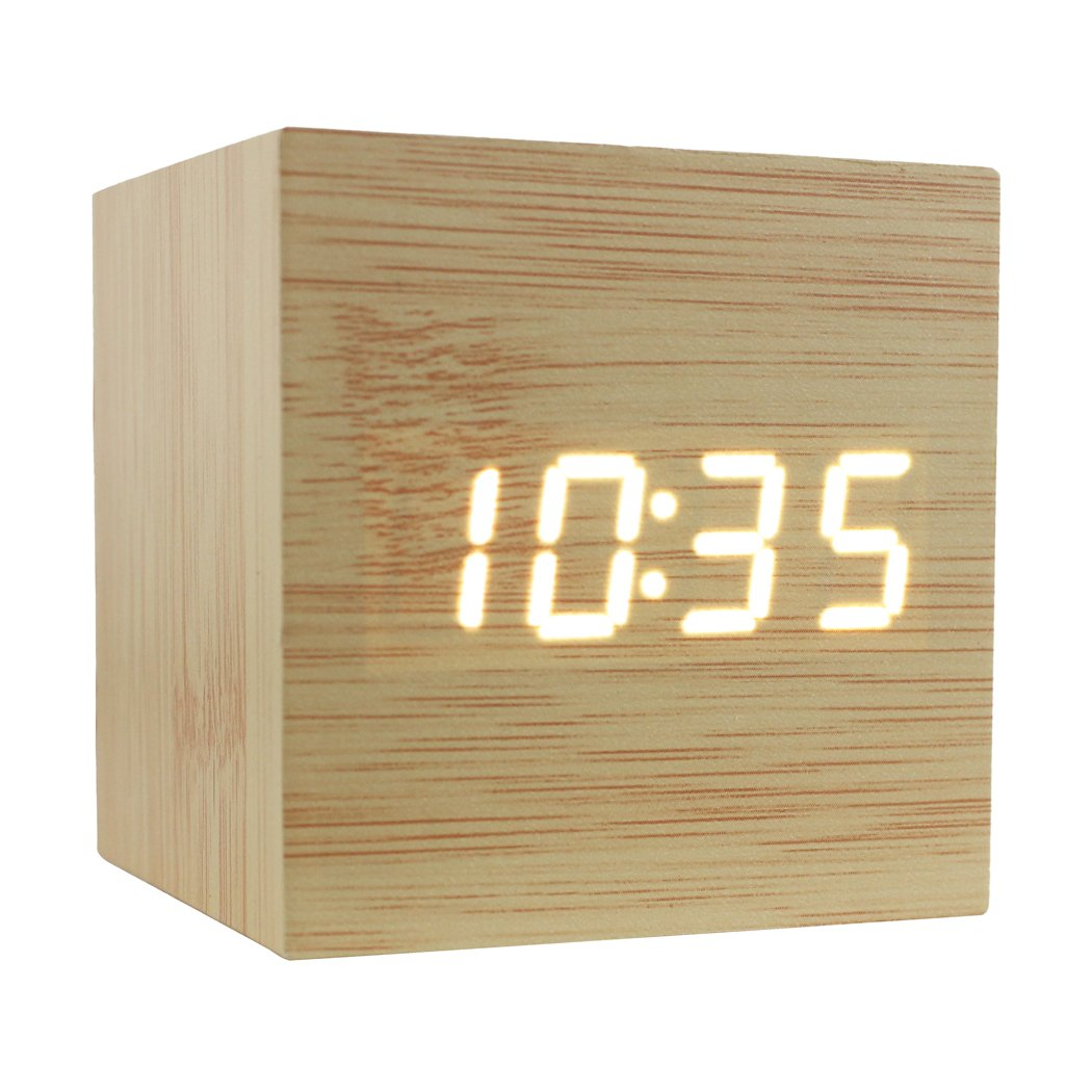 Dianoo Cube Brown Wood Red Led Alarm Clock - Time Temperature Date - Sound Control (Bamboo Wood + White Light)