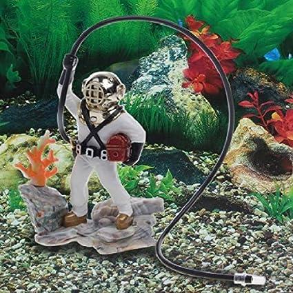 SODIAL Decoracion Ornamento de accion de aire buceador del tesoro del mar pecera acuario Regalo de resina Decoraciones subacuaticas para el jardin de casa: ...