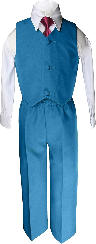 6pc Boy Wedding Oasis Malibu Teal Blue Formal Suit Burgundy Necktie Set Sm-14