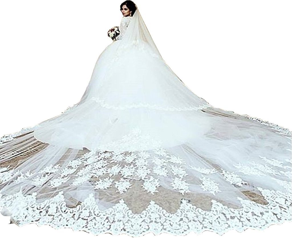 Banfvting Stylish Lace Appliques Bridal Veils 4M-5M Long Chapel Two Tiers Free Comb by Banfvting (Image #1)