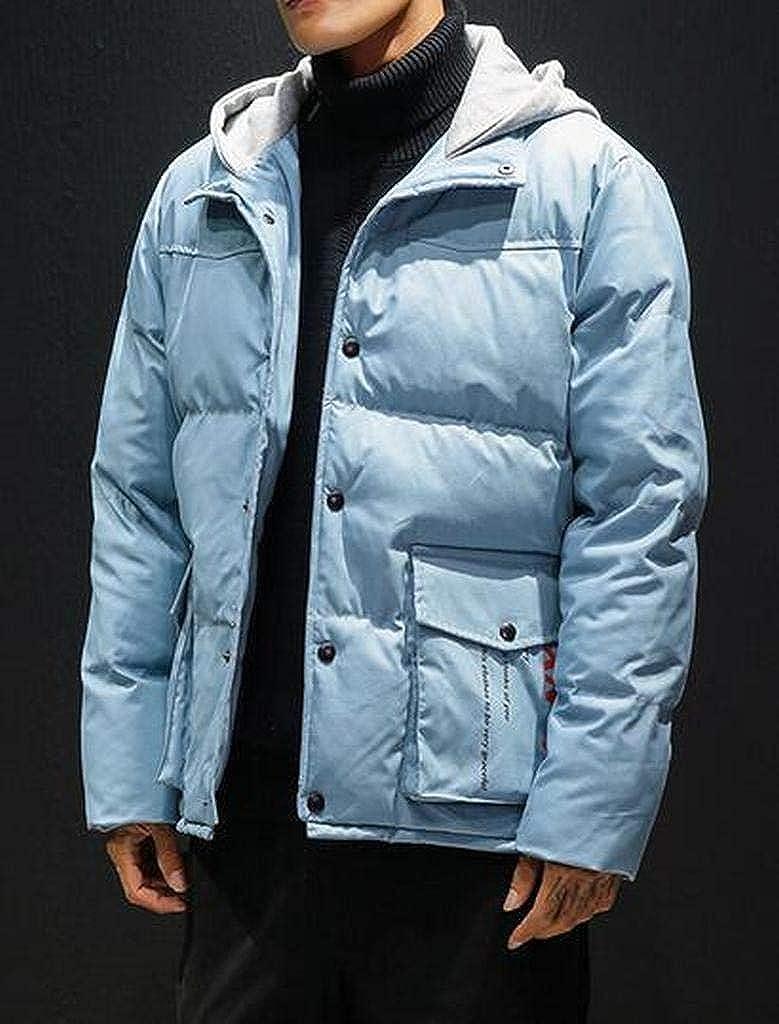 WAWAYA Mens Hooded Multi-Pockets Warm Plus Size Winter Down Quilted Jacket Coat Outerwear