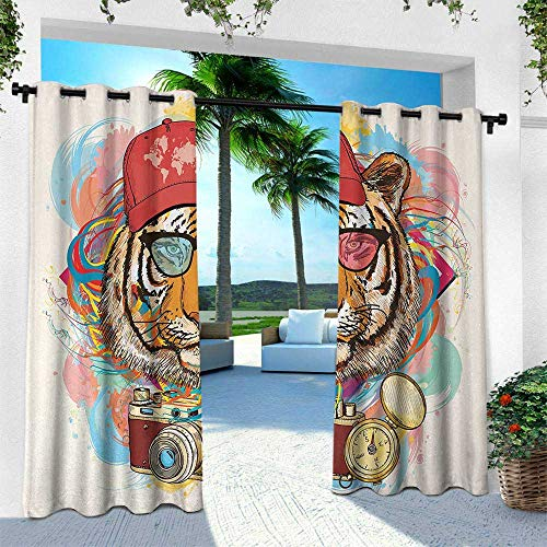 Hengshu Animal, Patio Curtains,Hipster Rapper Tiger with Sunglasses Hat and Camera Artist Hippie Animal Comic Print, W96 x L84 Inch, Multicolor