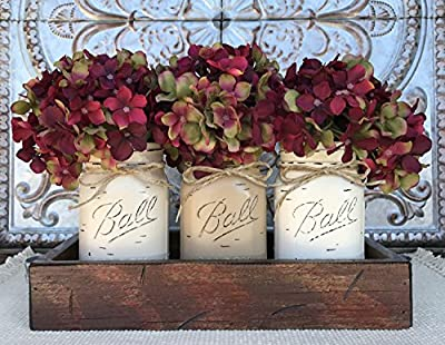 Mason Canning JARS in Wood Antique RED Tray Centerpiece with 3 Ball Pint Jar - Kitchen Table Decor - Distressed Rustic - Hydrangea Flowers (Optional) - SAND, COFFEE, CREAM Painted Jars (Pictured)