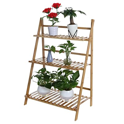 Bamboo Plant Stand with 3-Tier, Folding Planter Rack Organizer Flower Display Shelf, Plant Ladder Pot Holder Shelving Stand for Garden Balcony Indoor Outdoor - Cnebo Ship from USA: Sports & Outdoors