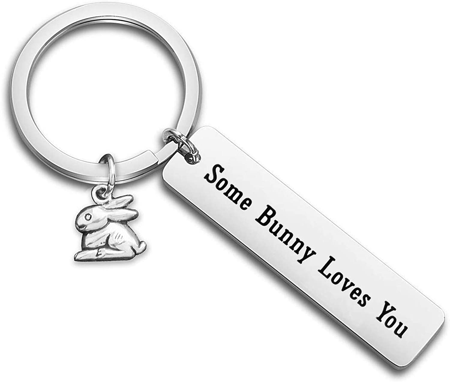 Gzrlyf Bunny Keychain Some Bunny Loves You Rabbit Gifts for Bunny Lovers