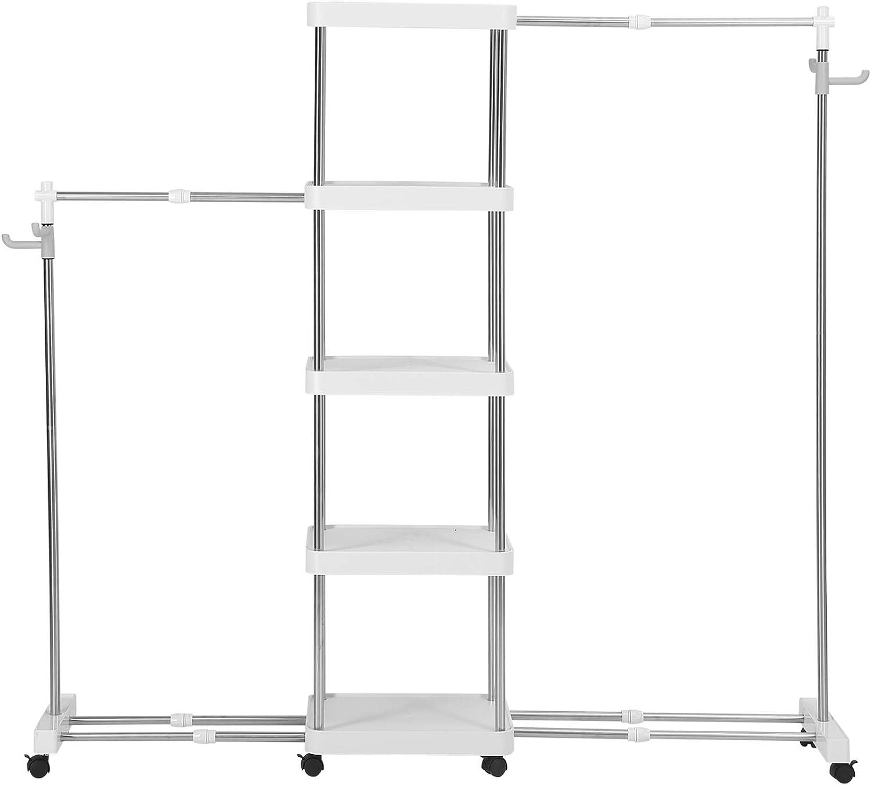 4 estantes de Almacenamiento y 2 estantes NEUN WELTEN Organizador Modular telesc/ópico para Armario con Rueda estantes Grandes para Ropa con 2 Barras para Colgar