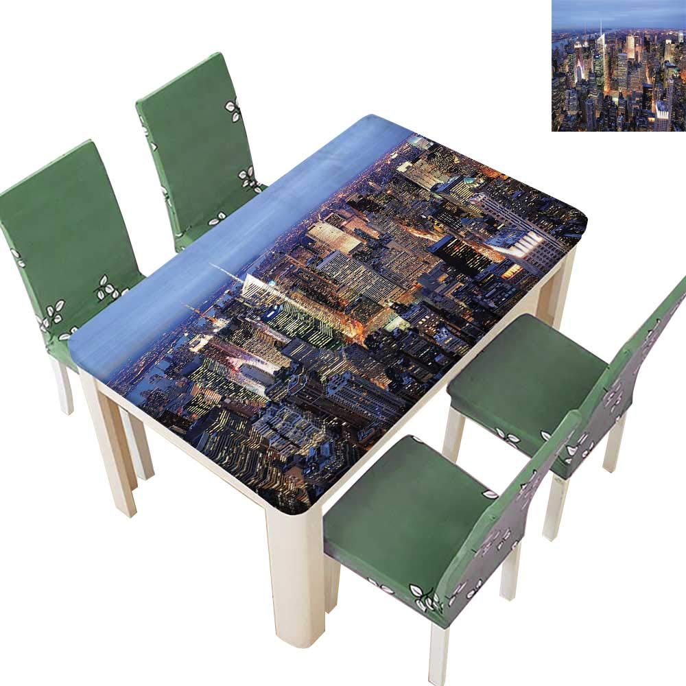 Printsonne Spillproof Fabric Tablecloth Aerial View NYC Full Skyscrapers Tim Square Famous Cityscape Kitchen Washable 54 x 120 Inch (Elastic Edge)