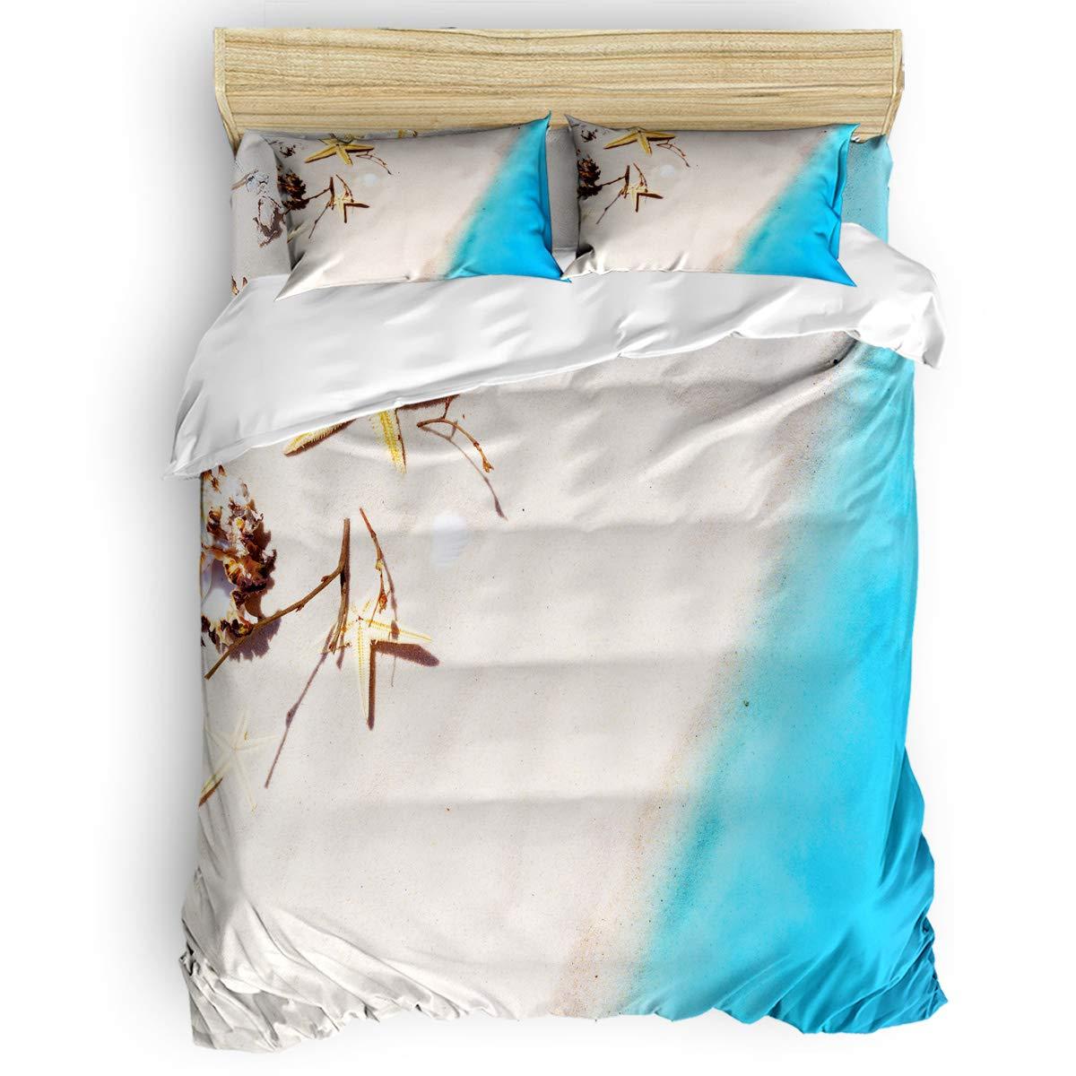 掛け布団カバー 4点セット いかり とるこだま木の板 寝具カバーセット ベッド用 べッドシーツ 枕カバー 洋式 和式兼用 布団カバー 肌に優しい 羽毛布団セット 100%ポリエステル ダブル B07TH97H2W Starfish Beach21LAS6526 ダブル
