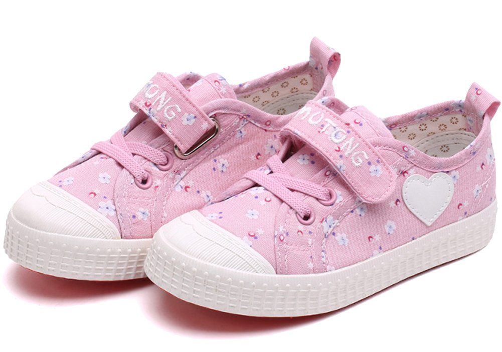 VECJUNIA Girls Sweet Floral Heart Painted Round Toe Canvas Shoes Pink 12.5 M US Little Kid by VECJUNIA (Image #6)