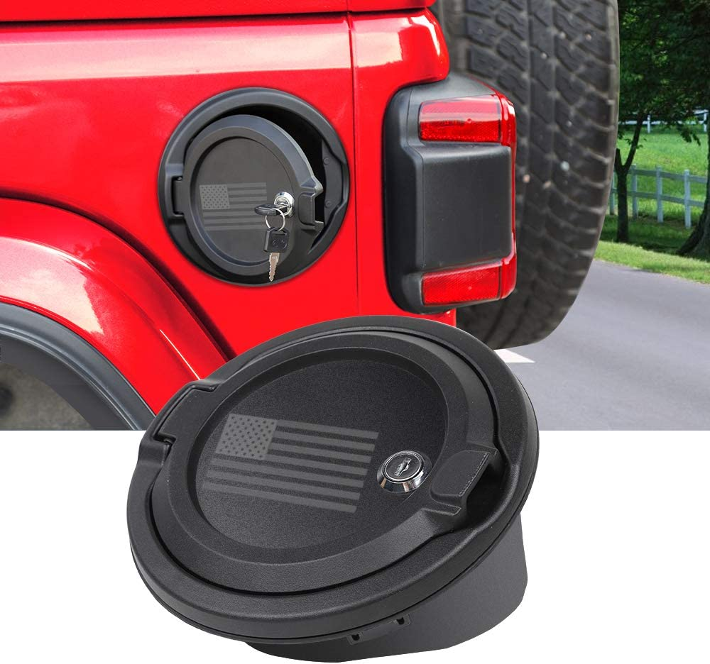 JeCar Fuel Filler Cover Locking Gas Tank Door Aluminum Alloy Gas Cap Cover Exterior Accessories for 2018 2019 2020 Jeep Wrangler JL JLU /& 2020 Jeep Gladiator JT US Flag