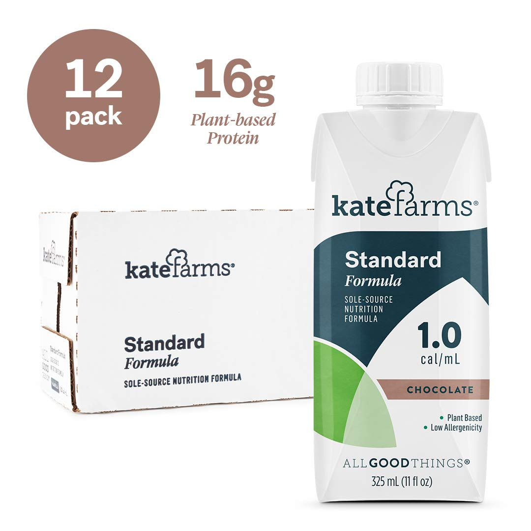 Kate Farms Standard 1.0 Chocolate Meal Replacement Formula Drink, Dairy, Soy, and Gluten-Free, Essential Vitamins, Organic Plant-Based Protein for Oral, Tube Fed, 325 milliliters (Case of 12) by Kate Farms