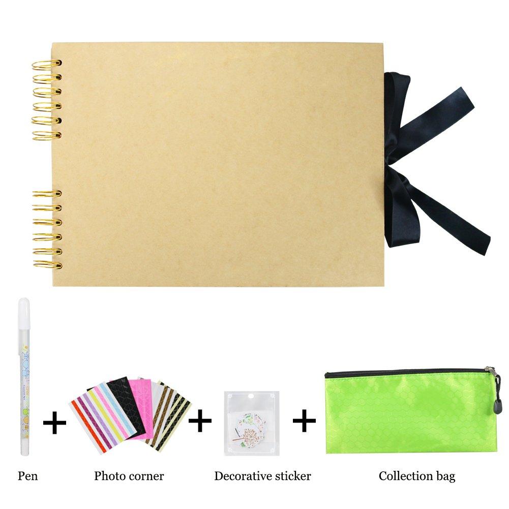 Amazon.com: DIY Scrapbook Photo Album 80 Pages Memory Book Craft ...