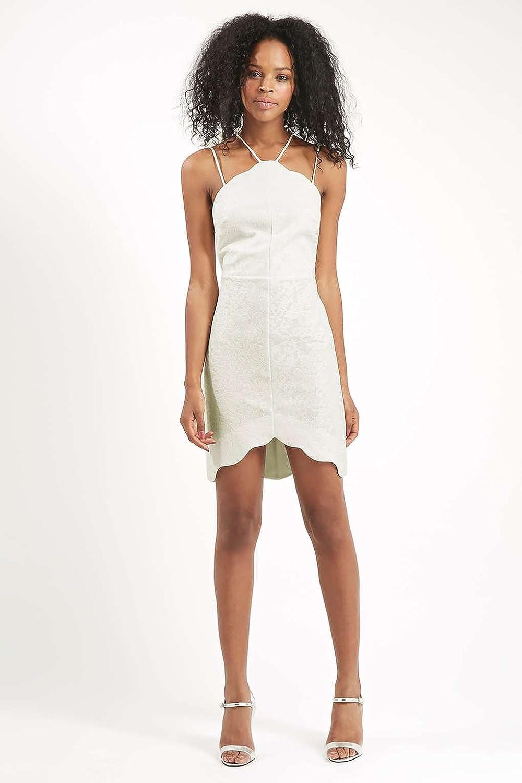TOPSHOP Scallop Lace Bodycon Dress White Cream Bridal Summer Party UK 14: Amazon.co.uk: Clothing