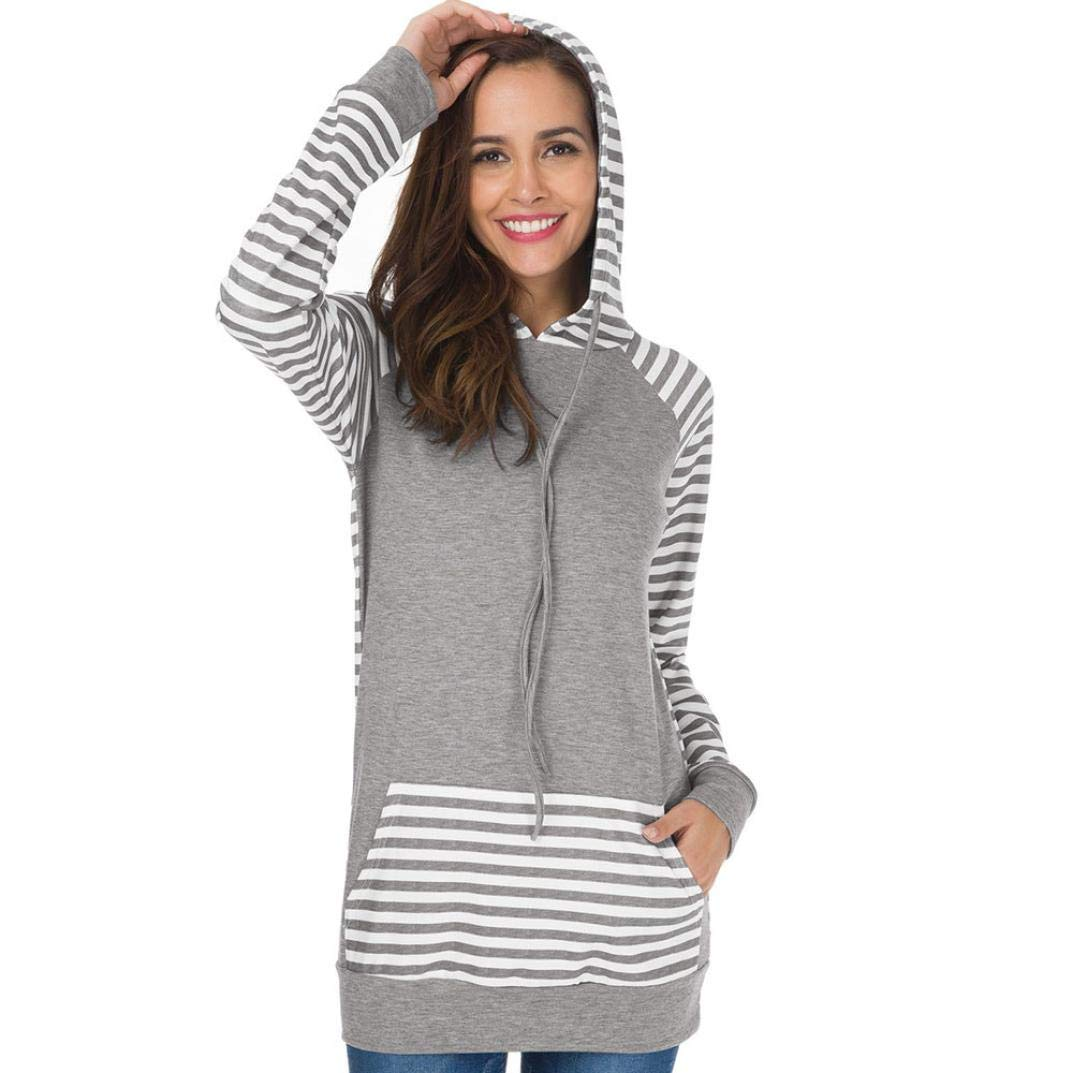Dacawin Fashion Women Blouse Stripe Round Neck Hooded Long Sleeve Sweatshirt T-Shirt For Daily Leisure