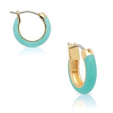 847545509 Amazon.com: Jewelry for Girls - Turquoise Hoop Earrings - Gold ...