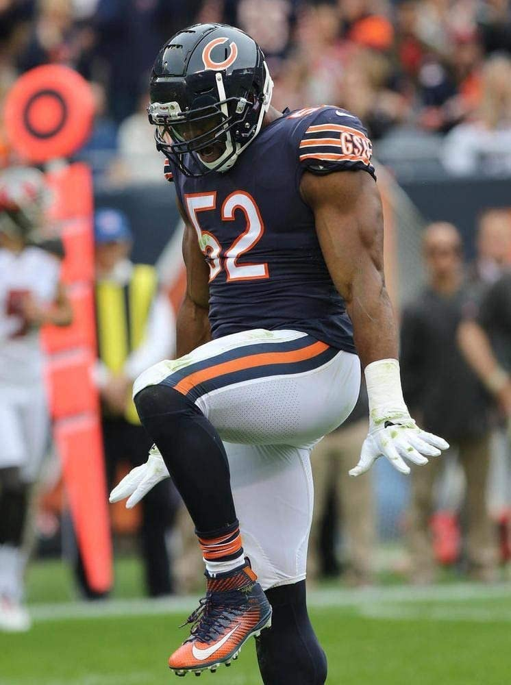 Khalil Mack Chicago Bears Poster Print, Real Player, ArtWork, Canvas Art, American Football Player, Khalil Mack Decor, Posters for Wall SIZE 24''x32'' (61x81 cm)